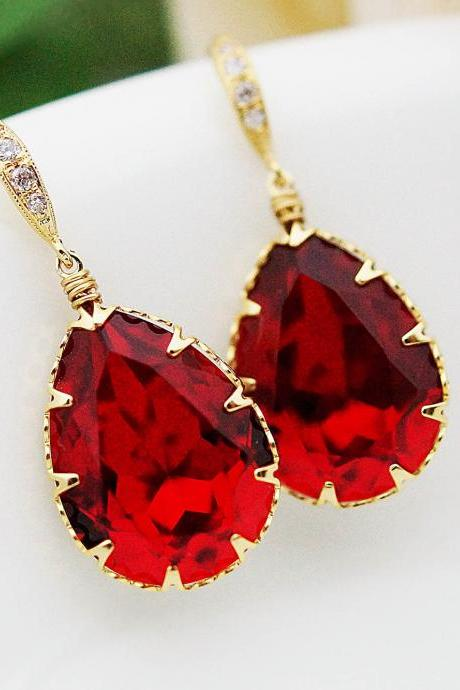 Bridal Earrings Bridesmaid Earrings cubic zirconia ear wires and Siam Red Swarovski Crystal Tear drops