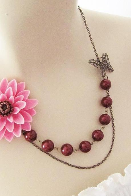 Sachet Pink with Brown Chrysanthemum Flower Cabochon, Antique Brass Butterfly charm and Maroon Swarovski Pearls Necklace