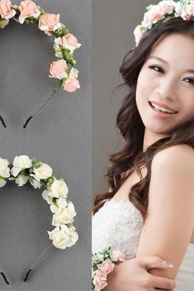 Flower Garland Floral Bridal Headband Hairband Wedding Hair Prom