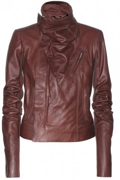 MAROON WOMENS BIKER LEATHER JACKET, WOMENS JACKETS, WOMEN MAROON COLOR JACKET