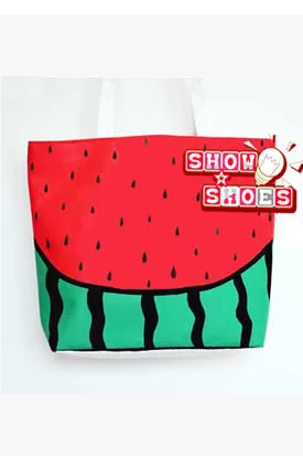 Sweet watermelon painted canvas bag