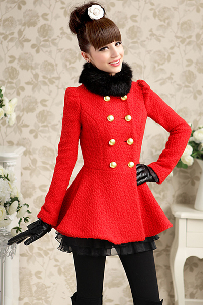 Red Double Breasted Woolen Winter Coat