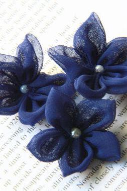 Chiffon Fabric Flower - Handmade - 5 pcs