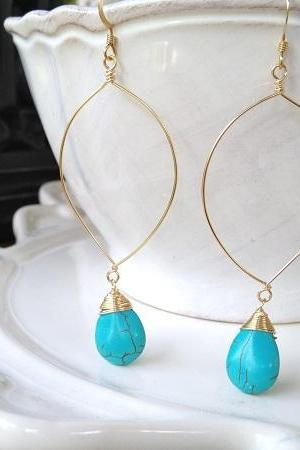 Handmade Turquoise Drops on Gold Filled Hoop Earrings