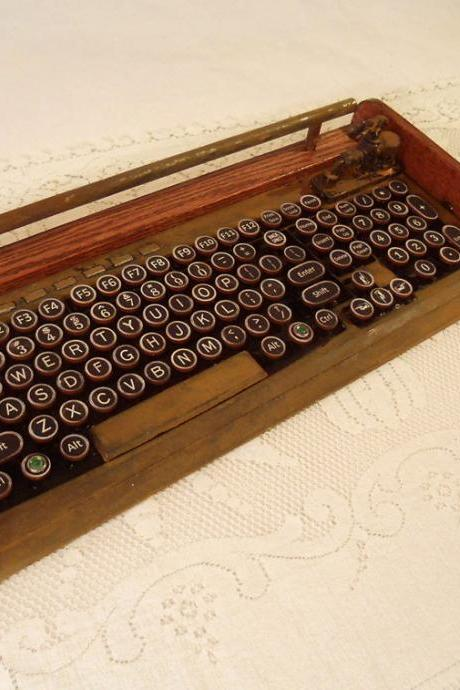 Antique Looking Computer Keyboard - Mouse with Victorian Styling - Steampunk-Typewriter-Wireless