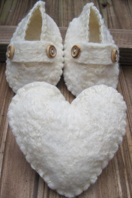 White Baby Shoes - Merino and Silk -
