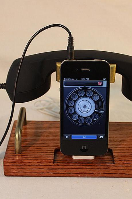 iPhone Dock - Phone - iPod Dock - Phone - Charger and Sync Station - Coiled Wire Headset B Model - Plugin Headset
