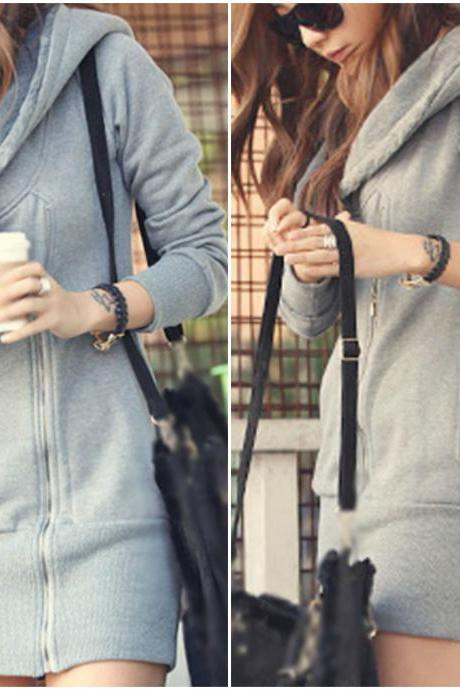 Hooded Zip up Sweater in Grey