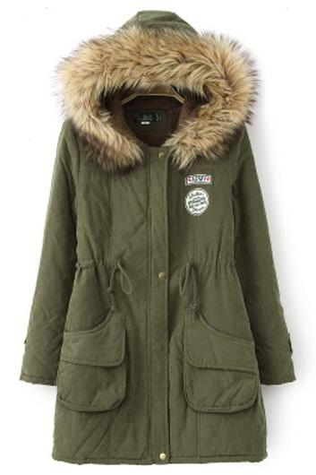 High Quality Essential Zipper Closure Long Sleeve Hooded Coat - Arm Green