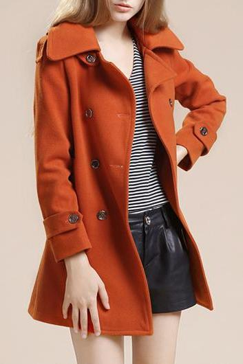 Fashion New Turndown Collar Long Sleeve Coat with Button - Orange