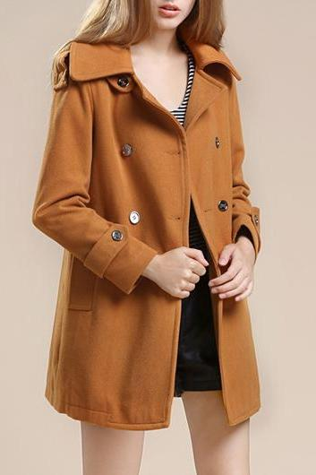 Fashion New Turndown Collar Long Sleeve Coat with Button - Khaki