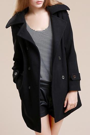 Fashion New Turndown Collar Long Sleeve Coat with Button - Black