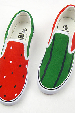 Summertime Watermelon Print Canvas Slip On Sneakers