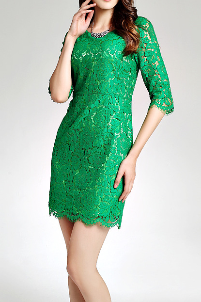 The European women's dress autumn new grass green water soluble lace Star Dress
