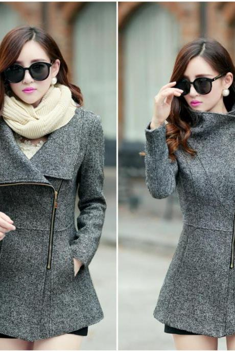 Dark Grey Side Zipper Design Winter Coat