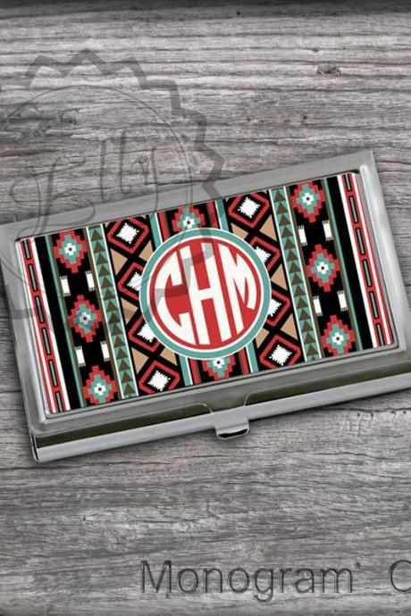 Monogrammed Card Holders - Aztec pattern design with Monogram business cardholder, card keeper case