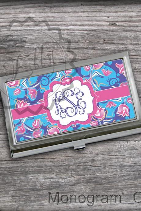 Tullips background Business card holder - Personalized Card Holder, custom card keeper, monogrammed card case