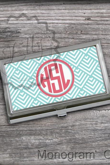 Monogrammed Business Card Holder - Blue Chevron Crad holder. office boss gift case, personalized card keeper