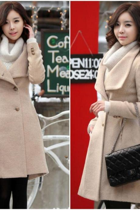Elegant Light Tan Turn Down Collar Winter Coat