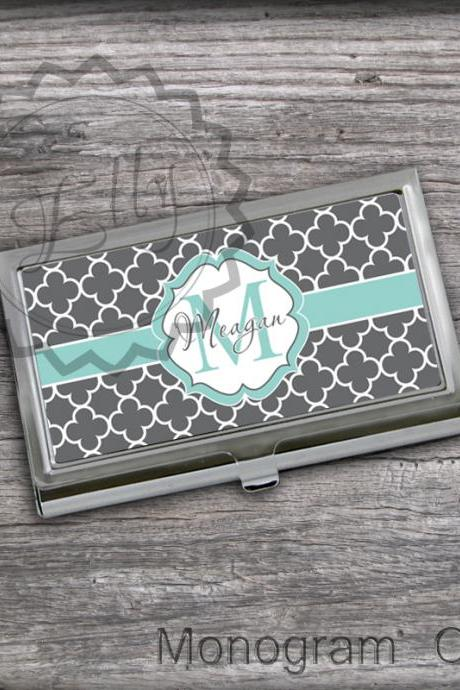 Classic Gray Personalized Card Holder - Monogrammed Card holder, graduation card keeper case, office card case