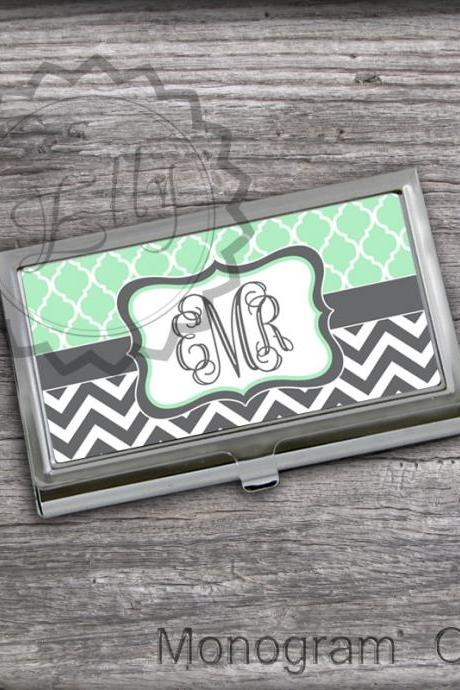 Mint and Charcoal customized Card Holder - Personalized Business Card holder case, graduation card keepr, steel case for cards