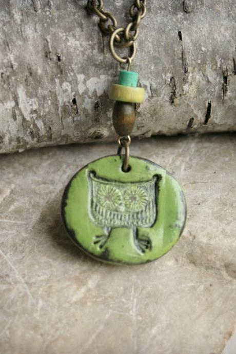 Owl Polymer Clay Pendant Necklace