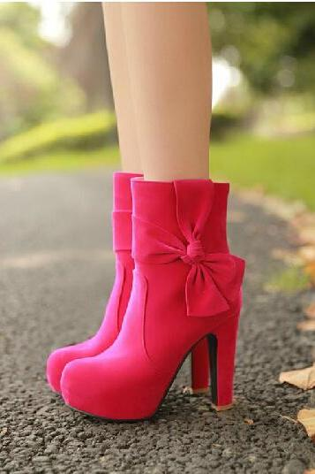 Charming Rose Red High Heels with Bow, Pretty High Heels, High Heels 2014
