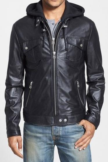 MENS HOODED LEATHER JACKET, MEN BLACK BIKER LEATHER JACKET, MEN FASHION JACKETS
