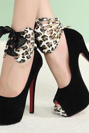 Sexy Peep toe Bow Embellished Black Leopard Print High Heels Shoes