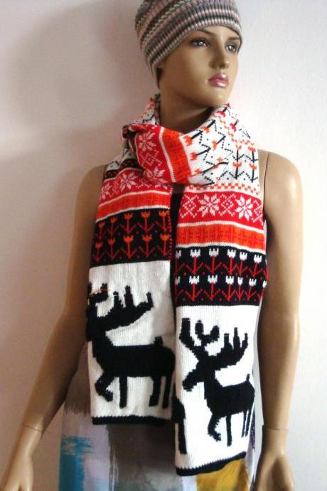 Sale Women Fashion Floral Black White and Red Cute Animal Reindeer Snowflake Bohemia Style Vintage Scarf Shawl as Holiday Family Exchange Christmas Stocking Stuffers Women Present HOT SALE Christmas Gift