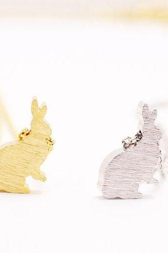Satin Brushed Bunny Necklace, Rabbit Jewelry
