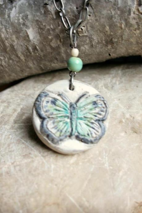 Butterfly Polymer Clay Pendant Necklace in Teal, Green, and Linen