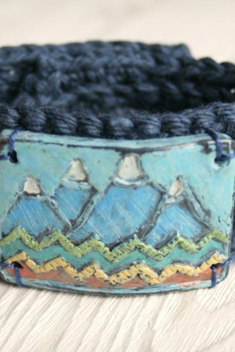 Crocheted Cuff with Mountain Scene Polymer Clay Button Womens/Mens