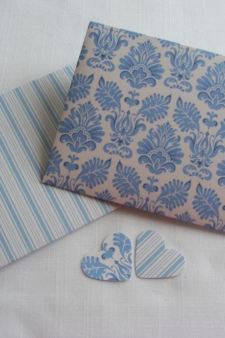 Handmade Envelopes Blue and White Seaside Inspired Stripes with Heart Shaped Fastening