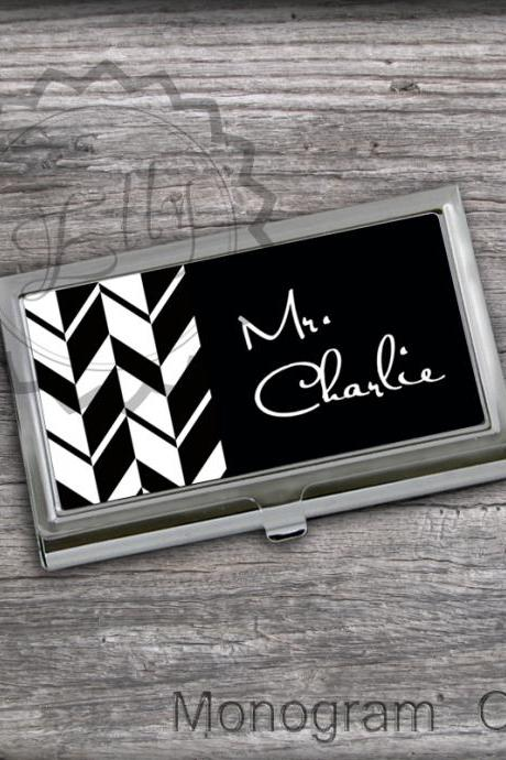 Black and White Personalized Card Holder - Business Card Case, custom Card Holder, office products
