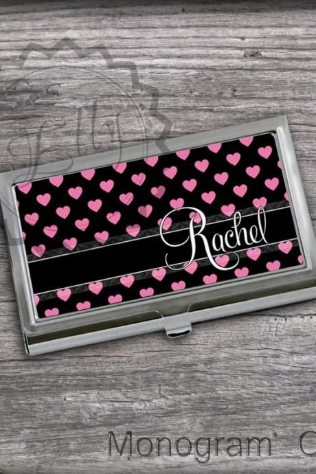 For Her Little pink hearts Crad Case - Personalized Card Holder, Steel custom name or monogram card holder