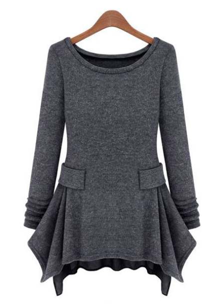 Europe and the United States Code significantly thin pure color long sleeve knit dress
