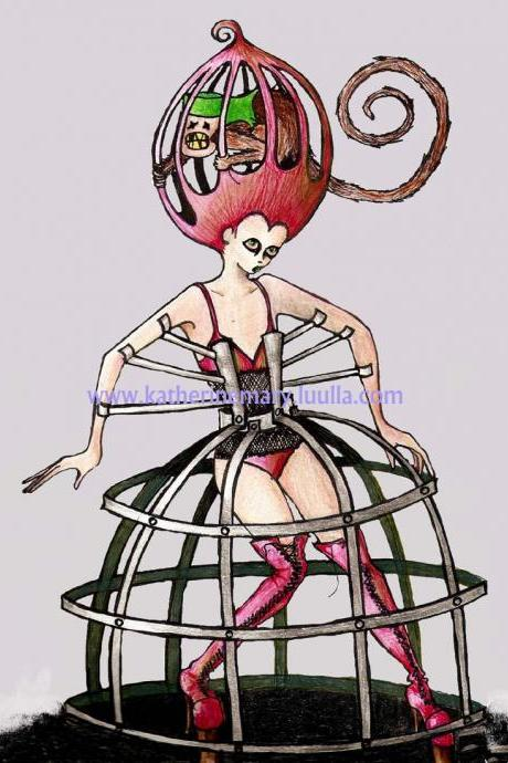 fantasy art print 5 x 7 goth lady in a cage dress hoop skirt bustle gown alternative gothic strange pink monkey high fashion haute couture