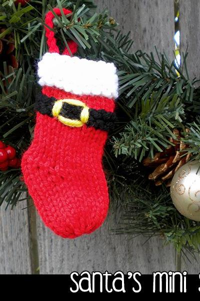 Santa's Mini Stockings Christmas Ornament Knitting Pattern