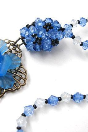 Cobalt Blue Beadwork Choker Necklace Fligre Flower and Beaded bud