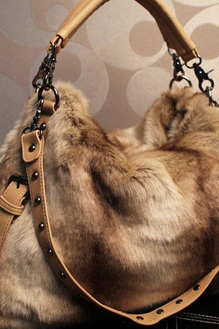 Beige Khaki Brown Purse Shoulder Bag Fashion Faux Fur Purse Tote Bag For Women