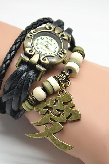 Anime Naruto Garra's Sand Gourd charm bracelet watch,Unisex Steampunk wrist watch,with Chinese ' love' word charm