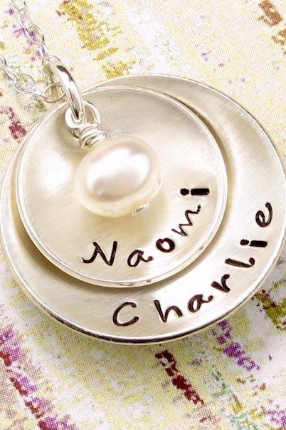 Hand Stamped Jewelry - Personalized Sterling Silver Necklace - Two Discs with Freshwater Pearl