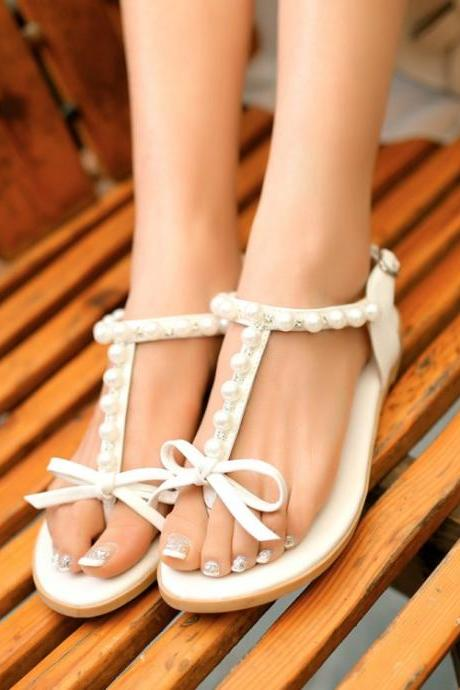 Adorable White Pearl Beaded T Strap Sandals with Bow