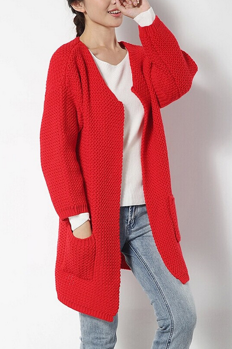 And the wind long women sweater V padded collar knitting cardigan Bang Bang needle loose coat large code