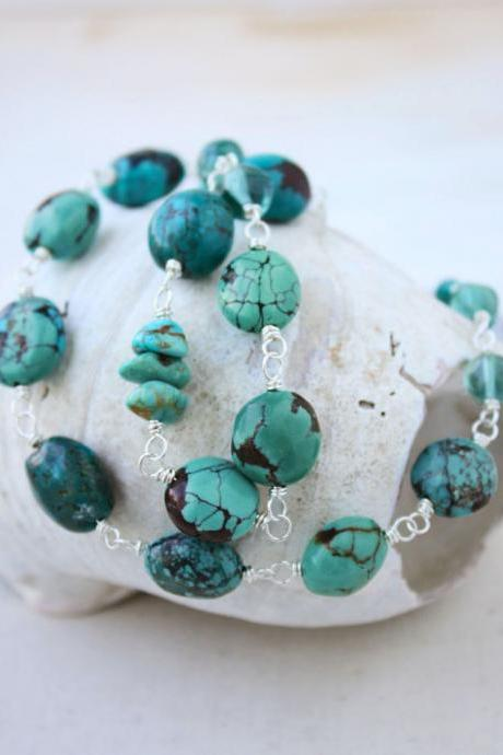 turquoise necklace, long layering sterling silver, chunky tribal organic, beach summer fashion jewelry