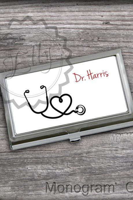 Stethoscope design Card Holder - Personalized Business Card Case,store cadrs case, Doc case gift