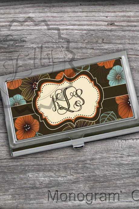 Floral Personalized Card Holder - Custom Business card case, gift for Her, Name or Monogram card case, steel card case