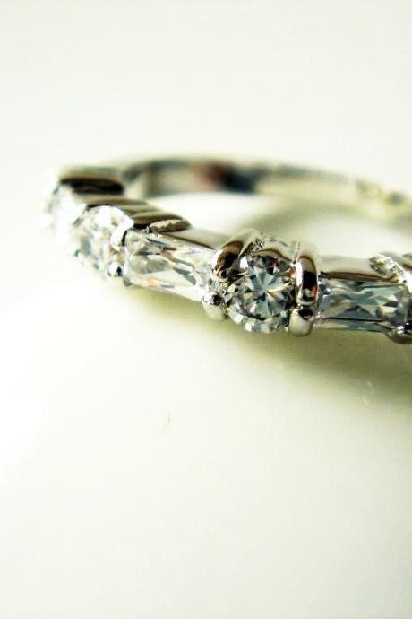 Slim Detailed Engagement Style CZ Silver Band R09