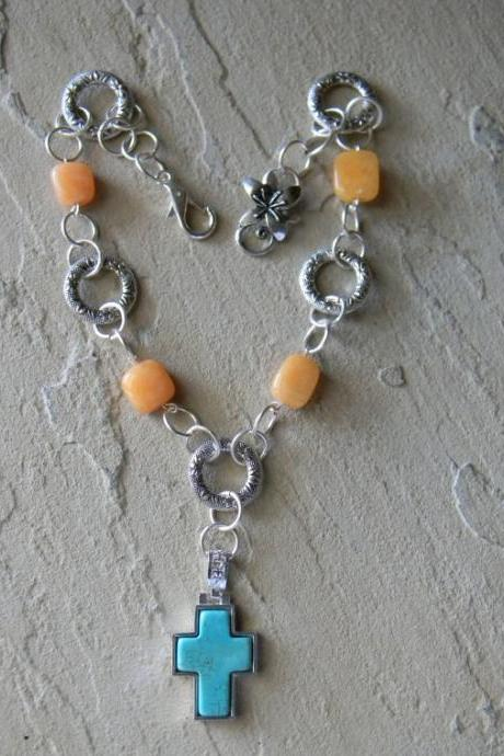 FREE SHIPPING - Cross Beaded Necklace